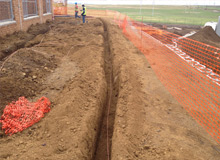 Advanced Lightning Protection - Trenching and earth cable at substation